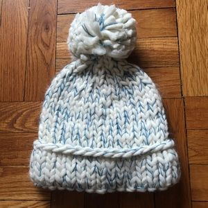 79e2427756b ASOS Accessories - ASOS White and Blue Chunky Knit Pom Pom Hat